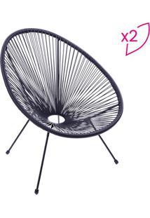 Jogo De Cadeiras Acapulco- Preto- 2Pã§S- Or Desigor Design