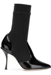 Dolce & Gabbana Ankle Boot Meia De Couro - Preto