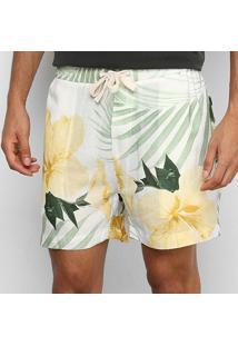Bermuda Osklen Pj Linen Hibisco Masculina - Masculino-Amarelo+Verde