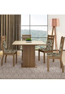 Sala De Jantar Madesa Mesa Tampo De Vidro Com 4 Cadeiras Marrom - Marrom - Dafiti