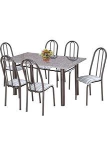 Conjunto De Mesa Com 6 Cadeiras Primavera Preto E Listrado