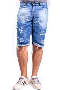 Bermuda Jeans Destroyed Rasgada Mania Do Jeans