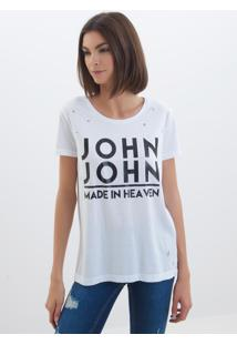 Camiseta John John Logo Malha Off White Feminina (Off White, G)
