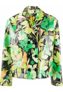 Fendi Jaqueta Cropped Com Estampa Floral - Preto