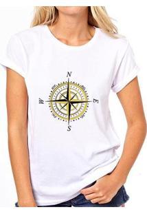 Camiseta Coolest Rosa Dos Ventos Feminina - Feminino-Branco