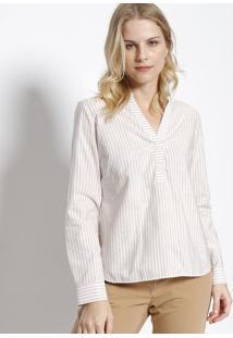 Camisa Listrada   Flor - Lilás   Brancavip Reserva 8e52c1f84b