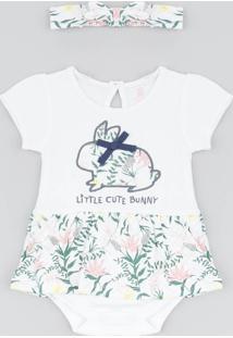 Body Saia Infantil Com Estampa De Coelhinho Manga Curta + Faixa De Cabelo Off White