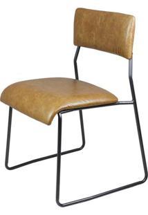 Cadeira Lampa Couro Natural Caramelo Com Base Aco Bruto - 43468 - Sun House