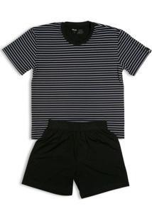 Pijama Infantil Mash Listrado Masculino - Masculino-Preto