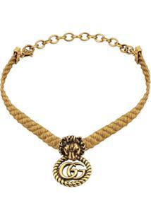 Gucci Choker De Cabeça De Leão - Dourado
