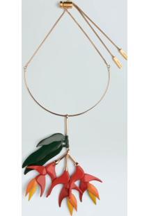 Colar Heliconia-Ouro/Vermelho - Un