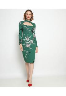 Vestido Mídi Com Vazado - Verde & Preto- Forumforum