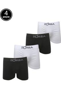 f0968e7f6722e2 Kit 4pçs Cueca Zorba Boxer Preto/Branco