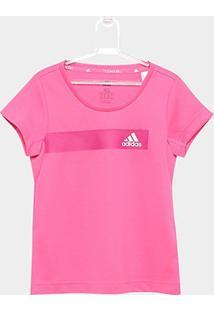 Camiseta Infantil Adidas Tr Cool - Feminino-Rosa+Branco