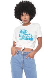 Camiseta Água Que Passarinho Não Bebe Baita Peita Off White