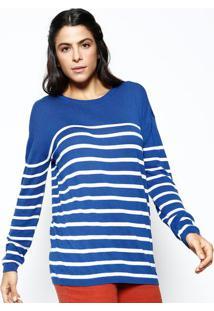 Blusão Em Tricô Listrado- Azul Escuro & Branco- Herihering