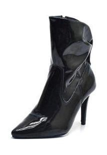 Bota Top Franca Shoes Bico Fino Cano Medio Franzida Verniz Feminina - Feminino-Preto