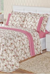 Kit Cobre Leito Bia Enxovais Solteiro Com Lençol De Baixo Naturalle 4 Peças - Estampa Floral Rosa