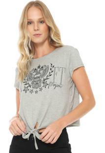 Camiseta Cropped My Favorite Thing(S) Amarração Cinza