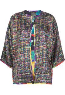 Etro Kimono De Seda Com Abertura Frontal - Roxo