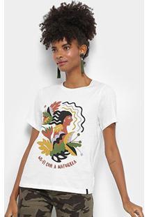 Camiseta Cantão Wi-Fi Natureza Feminina - Feminino-Off White