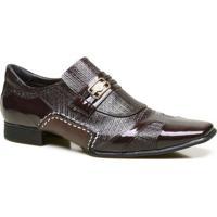 735140a42d Sapato Social Em Couro Com Textura Chicago Calvest - Masculino-Bordô