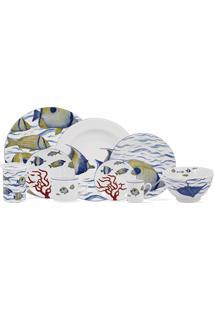 Aparelho De Jantar E Chá Porcelana Schmidt 30 Peças - Dec. Oceanos