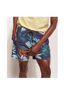 Bermuda Surf Masculina Pipe Tal Pai Tal Filho Floral Tropical Com Bolsos E Cordão Azul Marinho