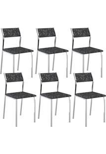 Cadeira 1709 Cromada 06 Unidades Fantasia Preto Carraro