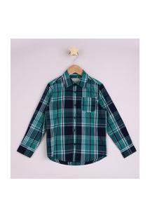 Camisa Infantil Estampada Xadrez Com Bolso Manga Longa Verde Escuro