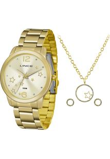 Kit De Relógio Analógico Lince Feminino + Brinco + Colar - Lrgh092L Kv69C2Kx Dourado