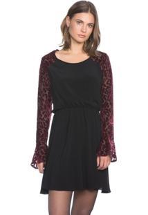 Vestido Amaro De Viscose Com Mangas - Feminino