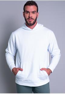 Casaco Mvb Modas Moletom Flanelado Capuz Branco