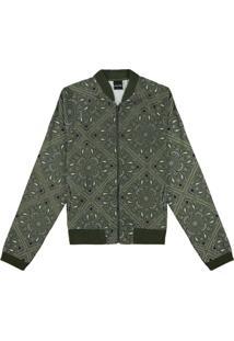Jaqueta Verde Escuro Slim Paisley