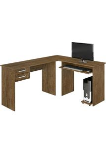 Mesa Para Computador Triunfo Com 2 Gavetas Avelã Rústico - Benetil Móveis