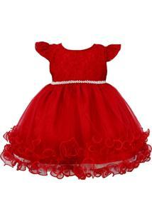 Vestido Katitus Com Renda Vermelho