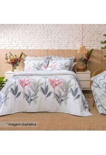 Jogo De Cama Home Design King Size- Branco & Cinza- Santista