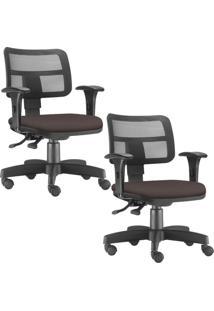 Kit 02 Cadeiras Giratórias Lyam Decor Zip Suede Marrom