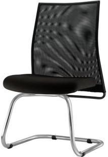 Cadeira Liss Assento Courino Preto Base Fixa Cromada - 54665 Sun House