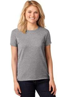 Camiseta Partiucompras Básica Lisa Feminina - Feminino-Cinza