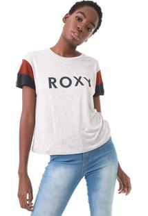 Camiseta Roxy Vintage Just Loke This Cinza/Vinho