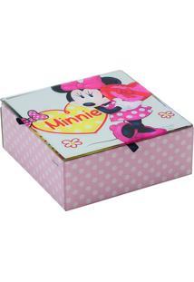 Porta Joias Minnie® Poá - Rosa Claro & Branco - 6X15Mabruk