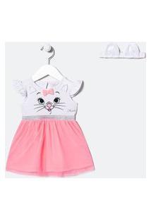 Vestido Infantil Estampa Gatinha Marie Com Saia De Tule - Tam 0 A 18 Meses | Teddy Boom (0 A 18 Meses) | Branco | 0-3M