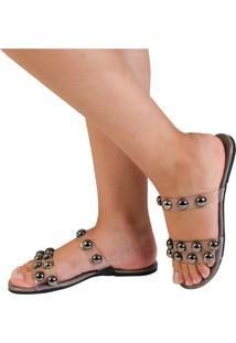 Sandã¡Lia Rasteira Mercedita Shoes Cristal Chumbo - Cinza - Feminino - Dafiti