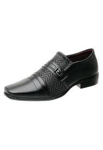 Sapato Social Masculino Textura Bico Quadrado Metal Moderno Preto 43 Preto