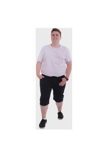 Bermuda Jeans Preto Plus Size Mega Premium Masculino - Jeans Preto