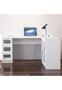 Mesa Para Computador 2 Portas 3 Gavetas Espanha Branco Bp - Politorno