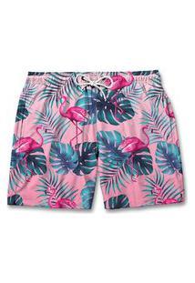Bermuda Short Praia Mauricinho Veráo Tropical Flamingos Rosa