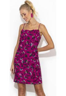 Vestido Curto De Viscose Estampa Floral Romã Rosa