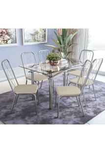 Conjunto De Mesa Com 6 Cadeiras Crome Cmc269Cr